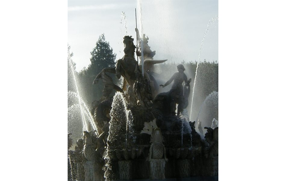 The fountain running
