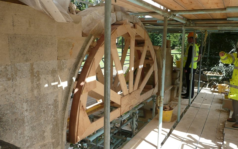 Pytchley gates - archway being rebuilt