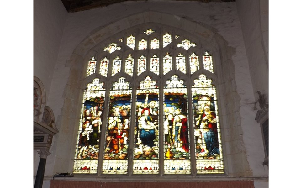 Colmworth - east window showing the beautiful stained glass after restoration
